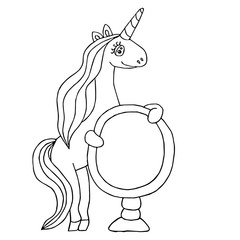 Unicorn for coloring book