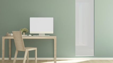 Workplace green wal on sunshie dayl in apartment or home - Interior simple design for artwork - 3D Rendering