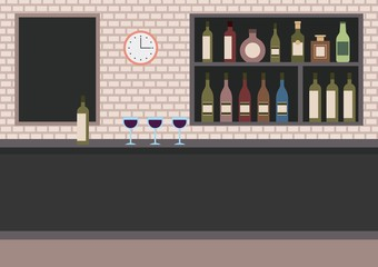 bar restaurant with counter wine cups and shelves with alcohol vector illustration