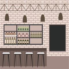 interior bar restaurant bar counter stool liquor drinks blackborad brick wall vector illustration