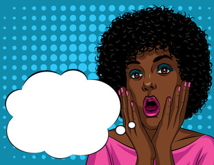 Colorful illustration in pop art style of beautiful african american woman's face in shock emotions. Stressful girl's face with open mouth and hands near face