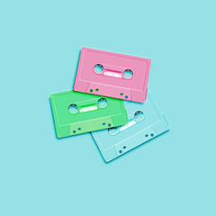 Pastel retro realistic cassette on flat background, vector illustration