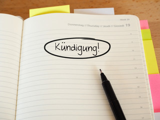 Kündigung - Notiz im Terminkalender