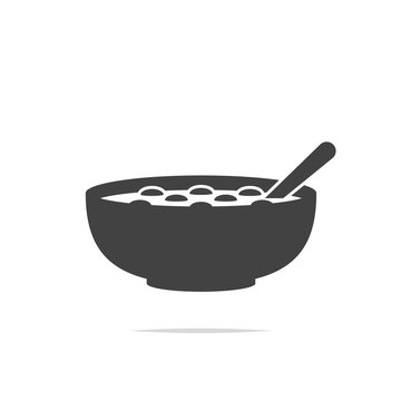 Bowl of cereal icon vector isolated