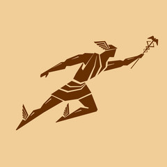 Ancient Greek god Hermes. Vector drawing