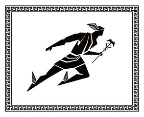 Flying Hermes in the Greek frame. Vector drawing