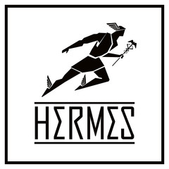 Flying Hermes logo. Vector drawing