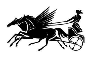 Greek flying chariot silhouette. Vector drawing