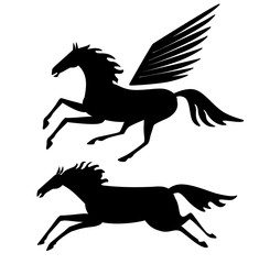 Horses silhouette. Vector drawing