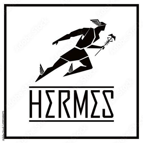 6b73e6a9d73 Flying Hermes logo. Vector drawing