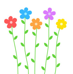 Cute summer flowers in cartoon style on white for design, stock vector illustration