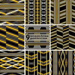 Retro fashion seamless geometric vector prints collection