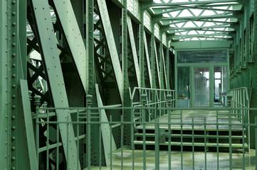 The steel construction of the Schemerlbruecke bridge is seen in Vienna