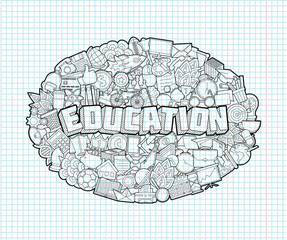 Education - Hand Lettering and Doodles Elements Sketch on Exerci