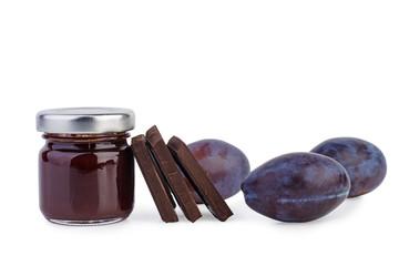 Plum jam with chocolate pieces
