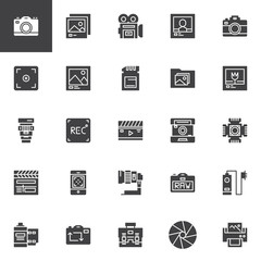 Photography accessories vector icons set, modern solid symbol collection, filled style pictogram pack. Signs logo illustration. Set includes icons as photo camera, lens, shutter, objective, film strip