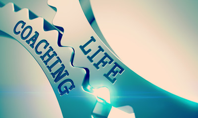 Life Coaching - Mechanism of Metallic Cogwheels . 3D .