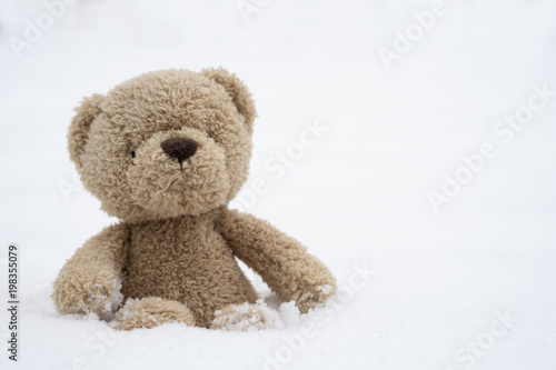 One teddy bear sitting alone on snow during winter time a cute one teddy bear sitting alone on snow during winter time a cute brown bear seated altavistaventures Images