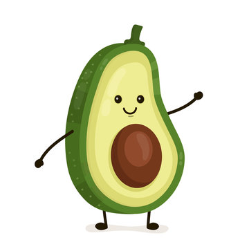 Funny happy cute happy smiling avocado