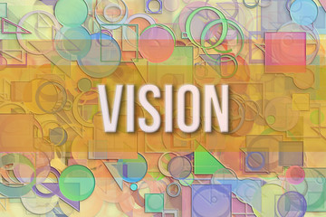 Vision, business conceptual with abstract circle, square & rectangle shape pattern. Background, colorful, generative & artwork.