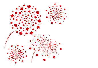 Canada fireworks design isolated on white background vector illustration