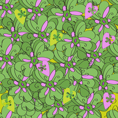 Seamless pattern from green leaves and purple flowers