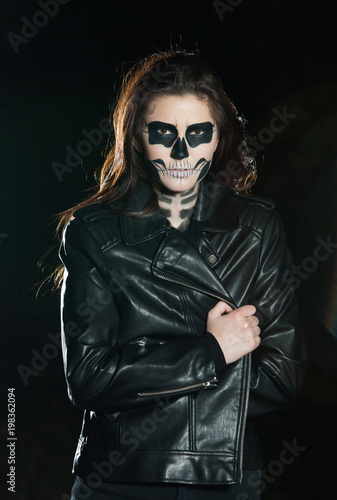 Halloween Makeup Devil Girl.Portrait Of Young Woman With Scared Halloween Makeup In Forrest