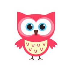 Cute red and pink cartoon flat owl