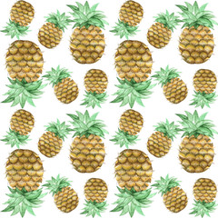 Watercolor pattern with pineapple