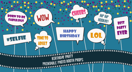 Photo booth props set for birthday party vector illustration