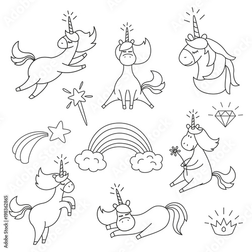 Set With Cute Unicorns For Coloring Book