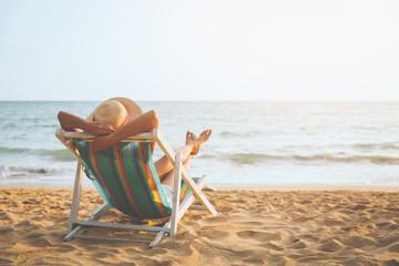Woman on beach in summer
