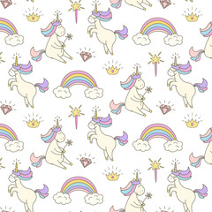 Cute seamless pattern with unicorns.