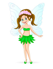 Pretty cute fairy. Cartoon fairy on a white background