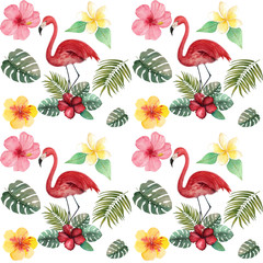 Watercolor tropical pattern with flamingo