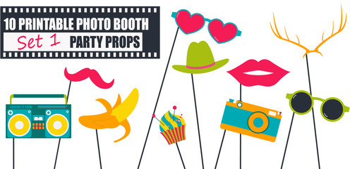 Bright photo booth props icon set vector illustration