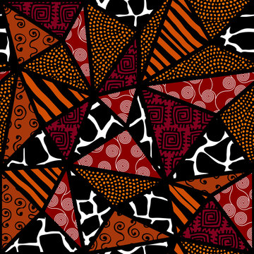 Ethnic boho seamless pattern in african style on black background. Tribal art print. Patchwork style. Vector image.
