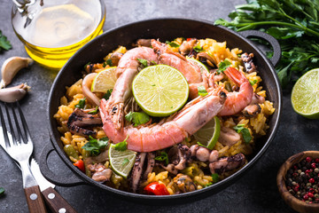 Seafood paella. Traditional spanish dish.