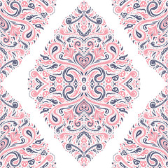 Pink, blue and white rhombus flourish, ethnic seamless pattern.Traditional, Arabic, Turkish, Indian motifs. Great for fabric and textile, wallpaper, packaging, or any desired idea.