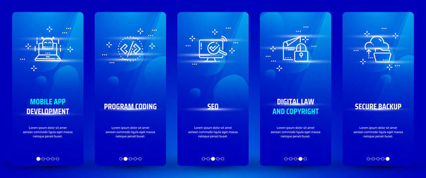 Mobile app development , Program coding, Seo, Digital law and copyright, Secure backup Vertical Cards with strong metaphors.