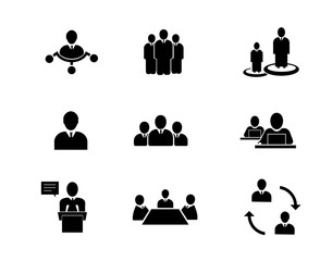 Business related people icon set