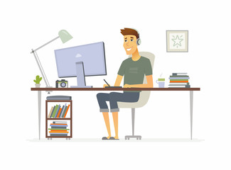 Freelance worker - cartoon people character isolated illustration