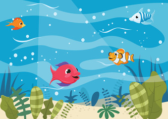 Vector Illustration Of Cartoon Fishes