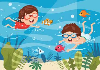 Vector Illustration Of Kids Diving