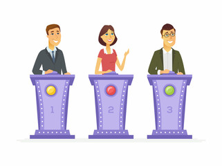Game show players - cartoon people character isolated illustration
