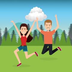 people celebrating in the field vector illustration design