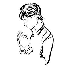 Praying young man, sketch, religion