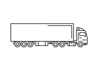 Cargo truck with freight container vector illustration isolated on white background. Truck car for cargo delivery vector art.