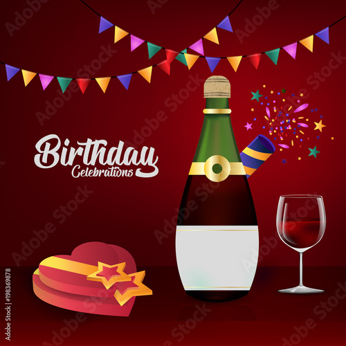 Happy Birthday Card With Elegent Design And Card Background Stock