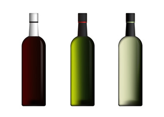 Wine Bottles In Red Green White Color Vector Set